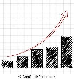 tendencia, chart., bosquejo, barra