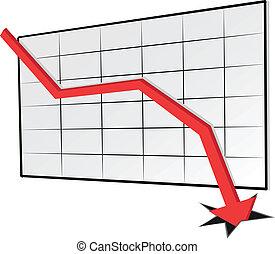 tendencia, gráfico, declinante