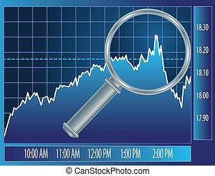 tendencia, vidrio, debajo, lupa, mercado, acción