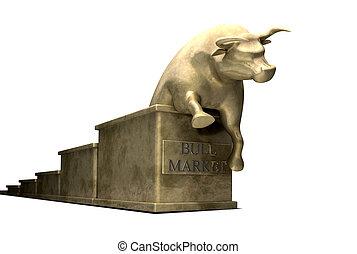 tendens, kast, marknaden, guld, tjur