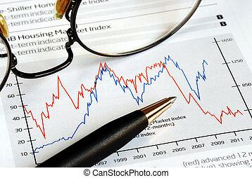 tendenz, analysieren, investition