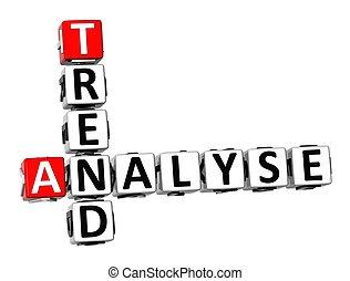 tendenz, analysieren, kreuzworträtsel, hintergrund, weißes, 3d