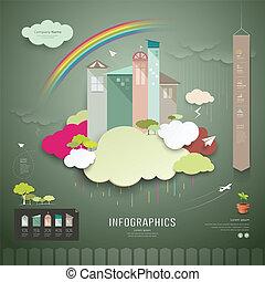 tendenz, haus, info, vektor, grafik