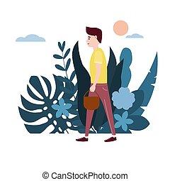 tendenza, giallo, giovane, cartoons., disegno, isolato, va, purchases., appartamento, suo, colorito, affari illustrazione, fondo, floreale, fiori, uomo, t-shirt, flora, leaves., vettore, cesto, fabbricazione, tipo