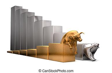 tendenze, Economico, orso, toro