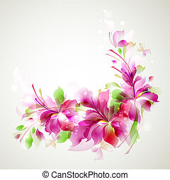abstract flower - Tender background with three abstract ...