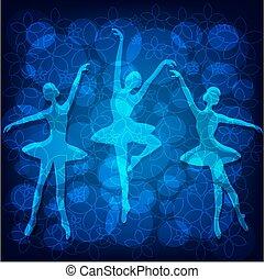 Tender ballet dancers on blue background