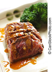 Tender beef - Slices of tender beef served with peanut sauce...