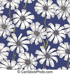 Tender blue pattern with white chamomile flowers