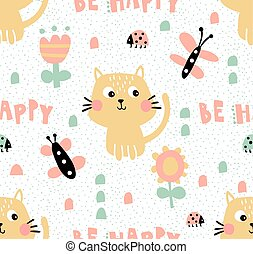 vector seamless pattern, cute cats, butterflies and flowers