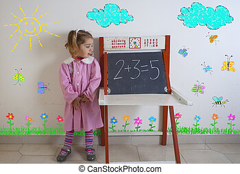 Tender child next to the chalkboard
