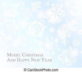 Tender Christmas postcard with white snowflakes on baby blue background