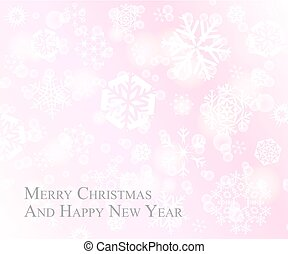 Tender Christmas postcard with white snowflakes on pink rose background