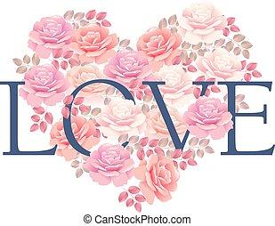 tender color pink rose bouquet in heart shape. elegant vector illustration design element for valentines greeting card of wedding invitation on white background