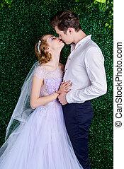 tender, csókol, közül, newlyweds
