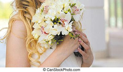 tender, esküvő bouquet, closeup