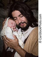 Tender father in nativity scene