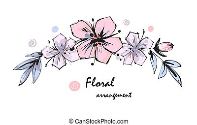 Tender floral arrangement. Pink apple tree flowers and buds with leaves. Vector romantic garden flowers.