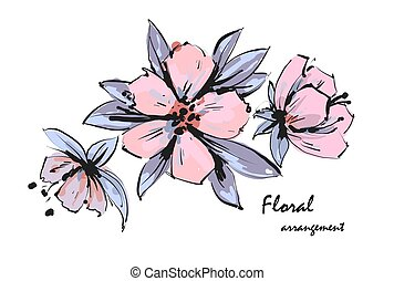 Tender floral arrangement. Pink apple tree flowers. Vector romantic garden flowers.