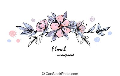 Tender floral arrangement. Pink apple tree flowers with leaves. Vector romantic garden flowers.