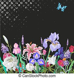 Tender floral empty template with butterfly, vector hand drawn design on black with grunge