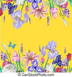 Tender floral empty template with butterfly, vector hand drawn design on bright yellow