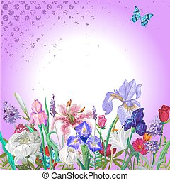 Tender floral empty template with butterfly, vector hand drawn design on graident background with grunge texture