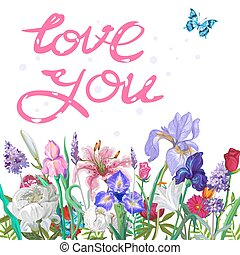 Tender floral LOVE YOU template with butterfly, vector hand drawn design on white