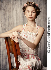 tender image - Vintage potrait of a beautiful girl with...