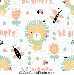 vector seamless pattern, cute lion illustration, and be happy hand lettering text