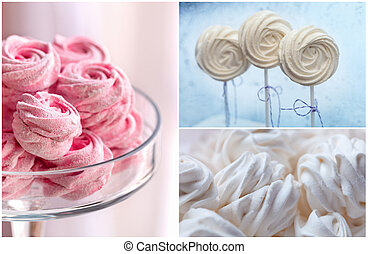 Delicious sweet buffet with tender marshmallow and merengues. high resolution collage