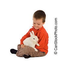 Tender moment with a bunny