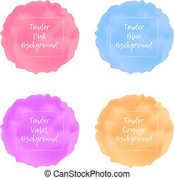 Tender pastel colors viscous liquid backgrounds set with frame for text, lava textured round place for beauty and cosmetics advertising design, badge, label