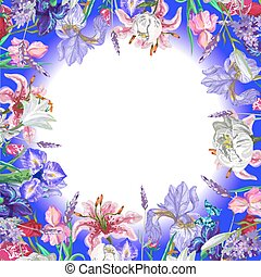 Tender round floral empty template with butterfly, vector hand drawn design