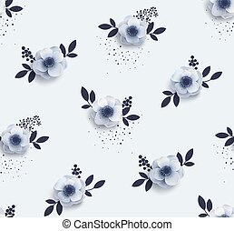 Tender seamless pattern with flowers anemones.