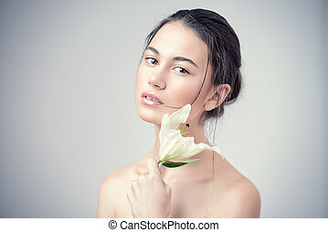 tender spring flower - Beauty portrait. Sensual brunette ...