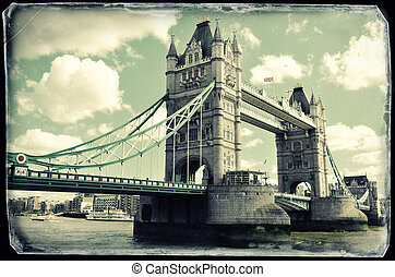 tender un puente sobre la torre, londres, vendimia, foto