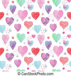 Tender watercolor pattern with hearts and arrows