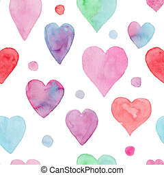 Tender watercolor pattern with hearts and dots