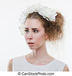 Tender woman - Beautiful tender woman wearing headpiece and...