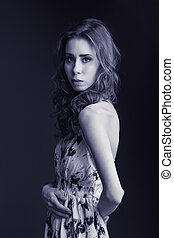 Tender woman - Beautiful tender young woman, tinted blue...