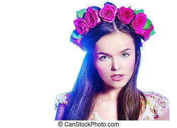 tender woman - Fashion shot of a beautiful girl in a wreath...