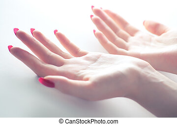 Tender woman hands. Soft colors.