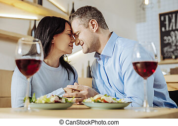 Tender woman spending time with a man