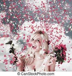 Tender woman with flowers. Romantic celebration - Delighted...