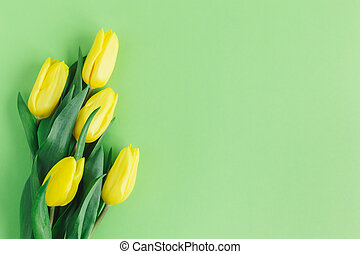 Tender yellow tulips on pastel green background. Greeting card for Mother's day.