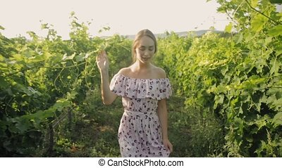 Tender young woman walking along the rows of vineyard