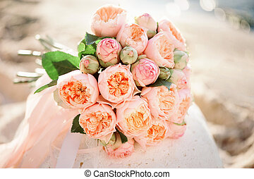 Tenderless bride bouquet of peon in pink colour