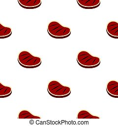 Tenderloin beef steak pattern seamless background in flat...
