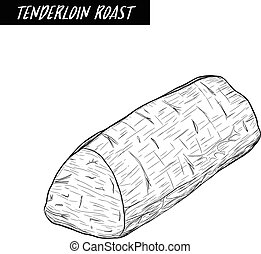 tenderloin roast sketch by hand drawing.